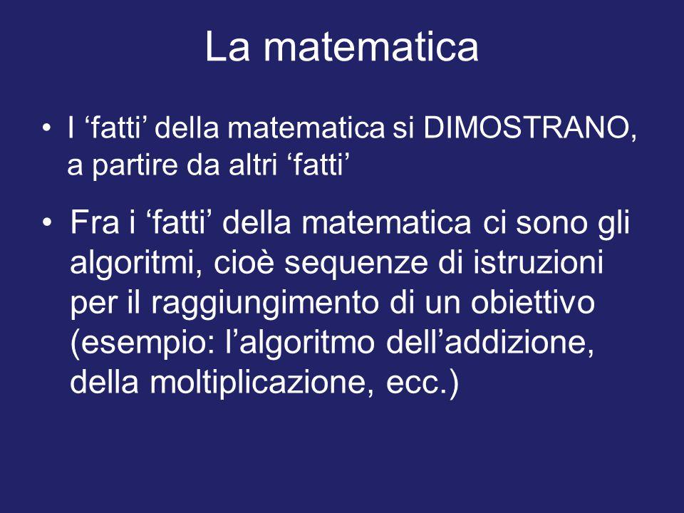 La matematica I 'fatti' della matematica si DIMOSTRANO, a partire da altri 'fatti' Fra i 'fatti' della matematica ci sono gli algoritmi, cioè sequenze di istruzioni per il raggiungimento di un obiettivo (esempio: l'algoritmo dell'addizione, della moltiplicazione, ecc.)