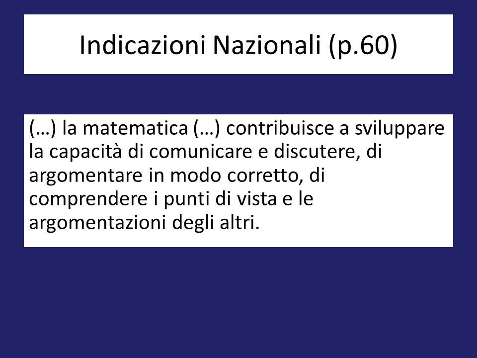 (…) la matematica (…) contribuisce a sviluppare la capacità di comunicare e discutere, di argomentare in modo corretto, di comprendere i punti di vist