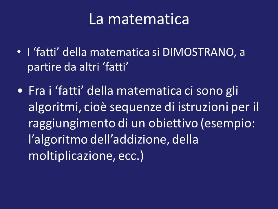 La matematica I 'fatti' della matematica si DIMOSTRANO, a partire da altri 'fatti' Fra i 'fatti' della matematica ci sono gli algoritmi, cioè sequenze