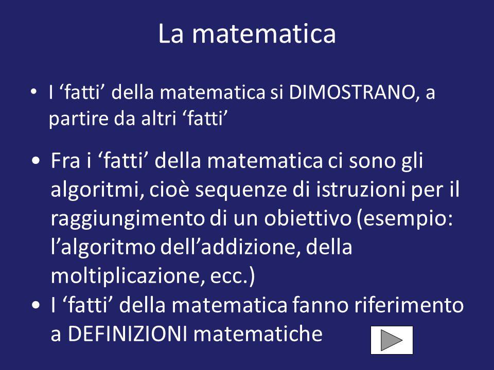 La matematica I 'fatti' della matematica si DIMOSTRANO, a partire da altri 'fatti' Fra i 'fatti' della matematica ci sono gli algoritmi, cioè sequenze di istruzioni per il raggiungimento di un obiettivo (esempio: l'algoritmo dell'addizione, della moltiplicazione, ecc.) I 'fatti' della matematica fanno riferimento a DEFINIZIONI matematiche