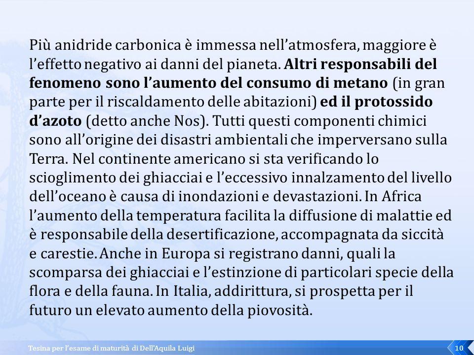 Tesina per l'esame di maturità di Dell Aquila Luigi9 Il fenomeno è noto come effetto serra, poiché la troposfera si comporta infatti come una serra che riscalda l'ambiente interno.