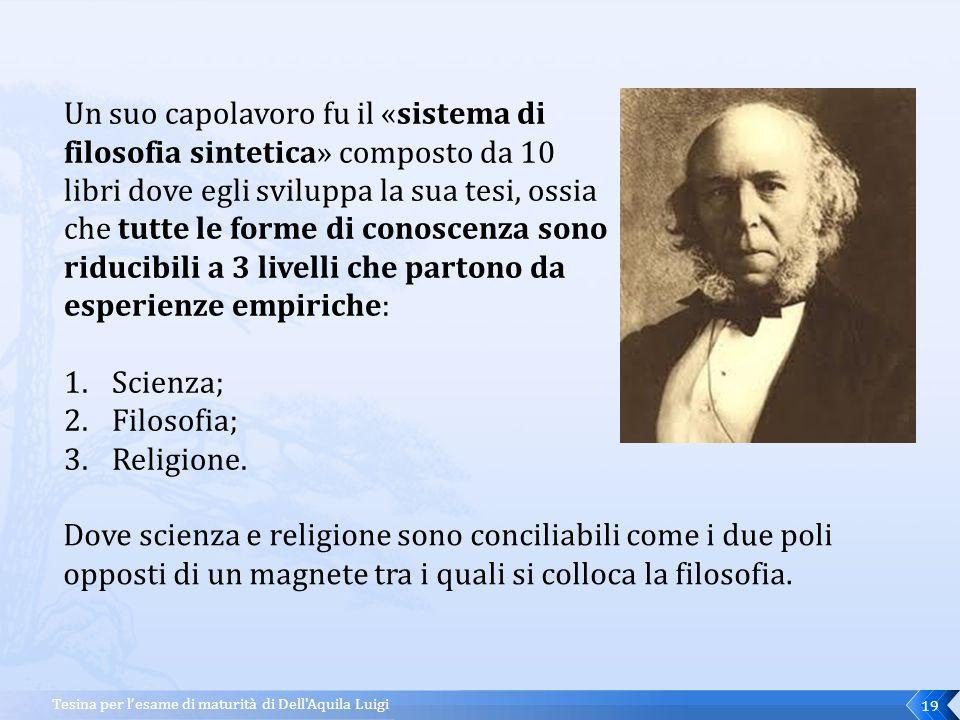 Tesina per l'esame di maturità di Dell Aquila Luigi18 Herbert Spencer Spencer nasce in Inghilterra nel 1820 e muore nel 1903.
