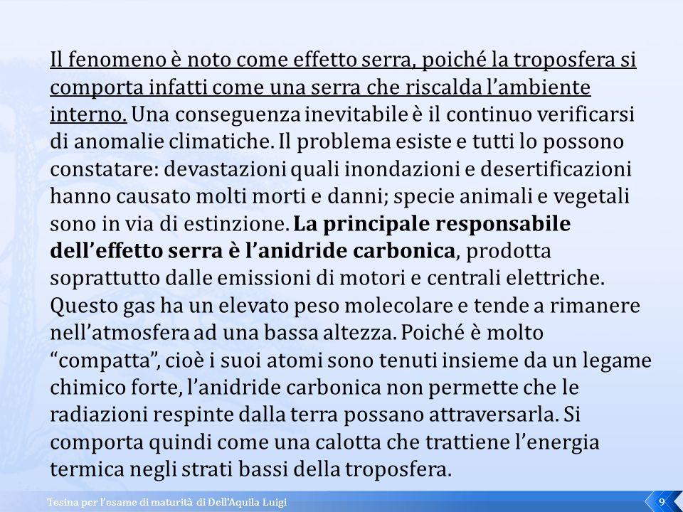 Tesina per l'esame di maturità di Dell Aquila Luigi 8 Che temperatura avrà la terra con l'effetto serra.