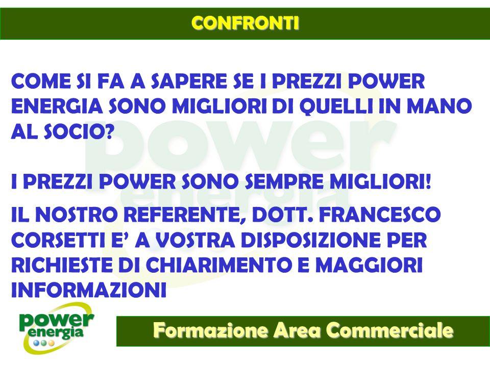 Formazione Area Commerciale CONFRONTI COME SI FA A SAPERE SE I PREZZI POWER ENERGIA SONO MIGLIORI DI QUELLI IN MANO AL SOCIO? I PREZZI POWER SONO SEMP