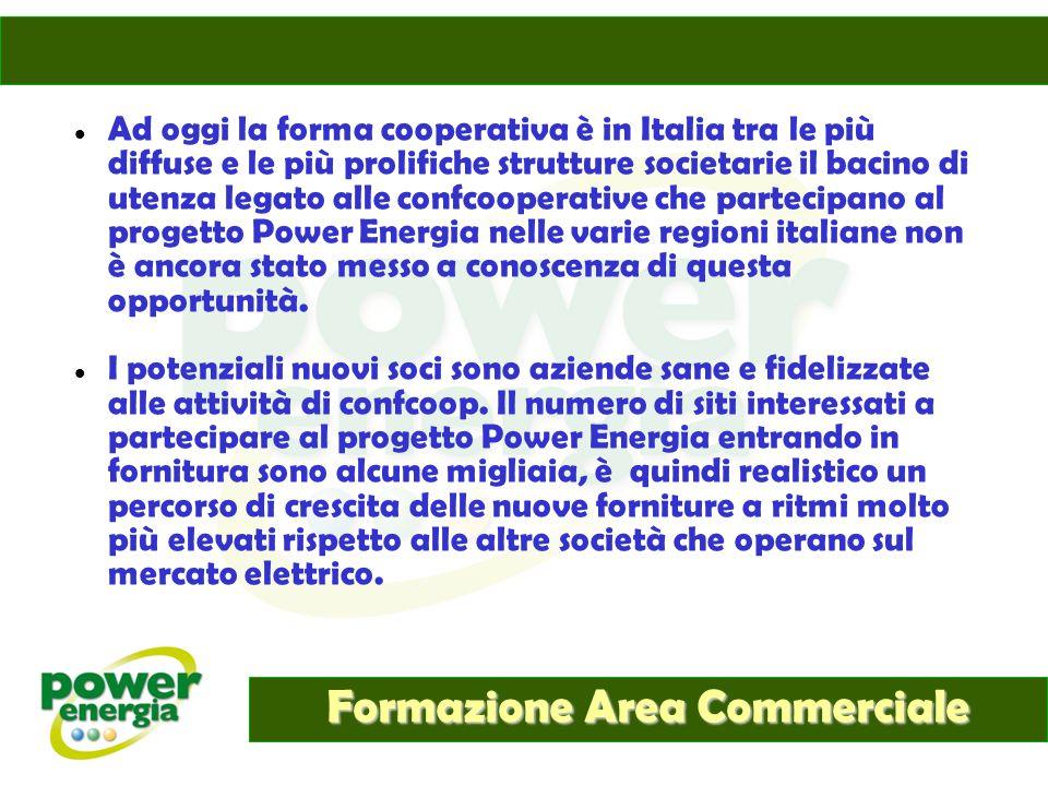 Formazione Area Commerciale Ad oggi la forma cooperativa è in Italia tra le più diffuse e le più prolifiche strutture societarie il bacino di utenza l
