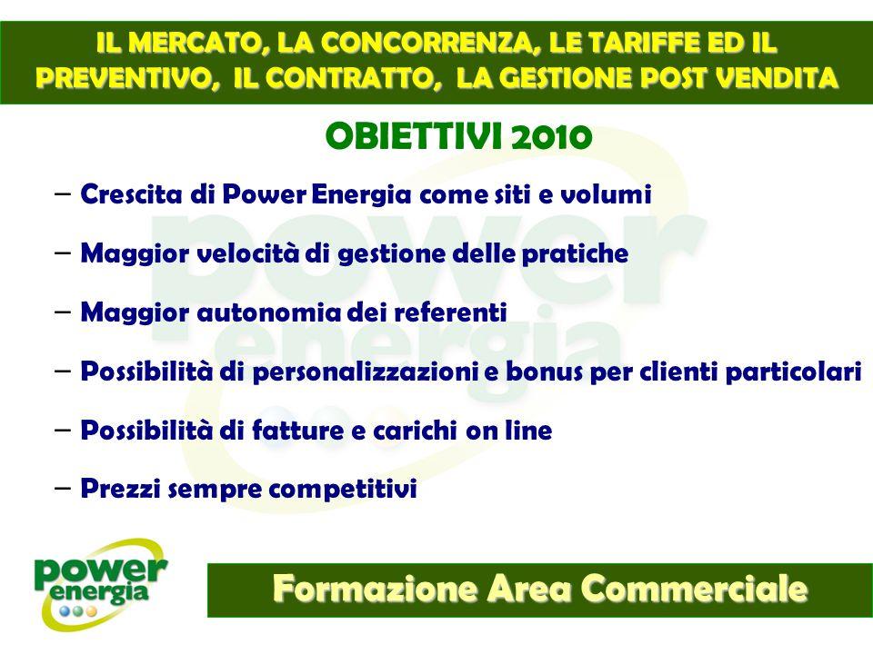 Formazione Area Commerciale IL MERCATO, LA CONCORRENZA, LE TARIFFE ED IL PREVENTIVO, IL CONTRATTO, LA GESTIONE POST VENDITA OBIETTIVI 2010 – Crescita