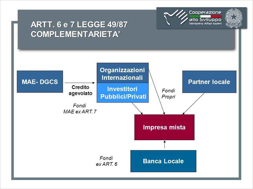ARTT. 6 e 7 LEGGE 49/87 COMPLEMENTARIETA' MAE- DGCS Organizzazioni Internazionali Partner locale Impresa mista Credito agevolato Fondi Propri Investit