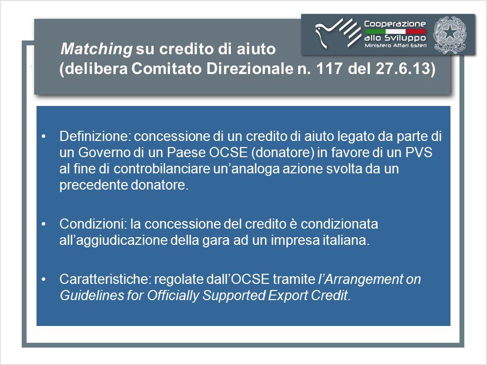 Matching su credito di aiuto (delibera Comitato Direzionale n. 117 del 27.6.13) Definizione: concessione di un credito di aiuto legato da parte di un