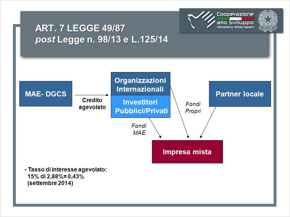 ART. 7 LEGGE 49/87 post Legge n. 98/13 e L.125/14 MAE- DGCS Organizzazioni Internazionali Partner locale Impresa mista Credito agevolato Fondi Propri