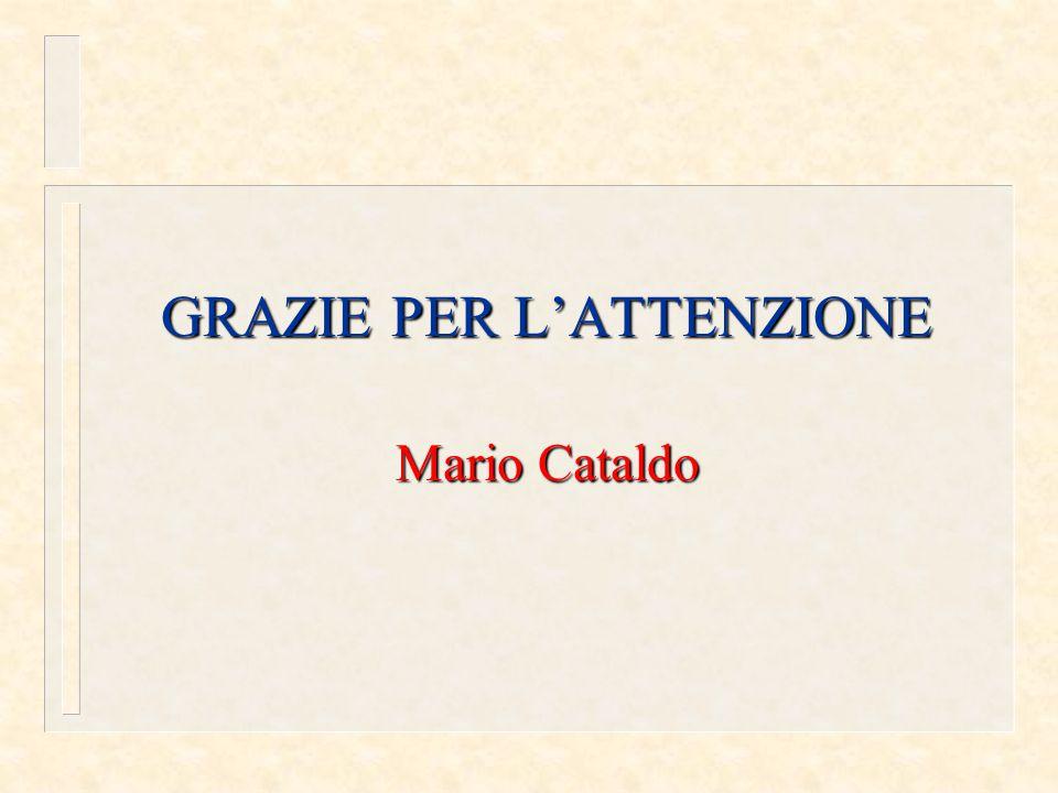 GRAZIE PER L'ATTENZIONE Mario Cataldo