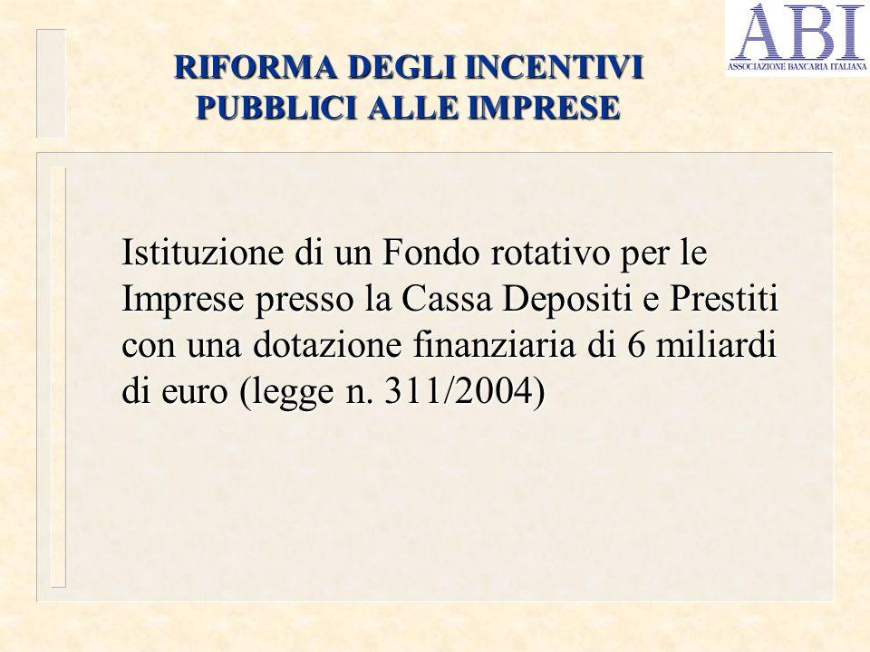RIFORMA DEGLI INCENTIVI PUBBLICI ALLE IMPRESE Istituzione di un Fondo rotativo per le Imprese presso la Cassa Depositi e Prestiti con una dotazione fi