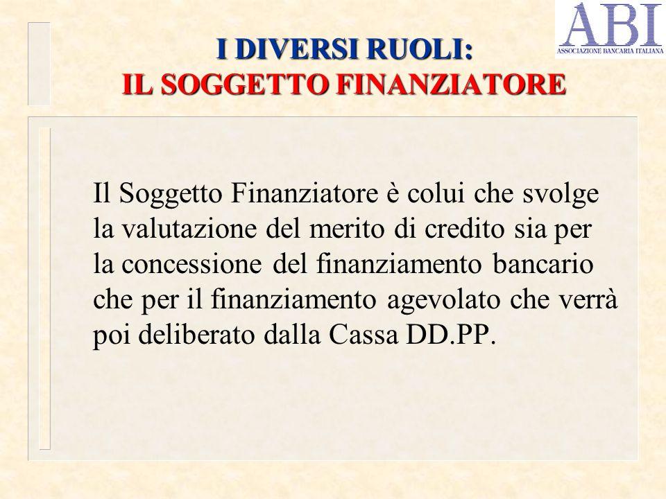 I DIVERSI RUOLI: IL SOGGETTO FINANZIATORE Il Soggetto Finanziatore è colui che svolge la valutazione del merito di credito sia per la concessione del
