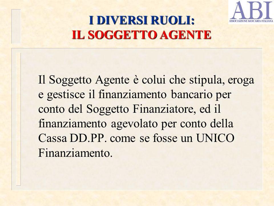 I DIVERSI RUOLI: IL SOGGETTO AGENTE Il Soggetto Agente è colui che stipula, eroga e gestisce il finanziamento bancario per conto del Soggetto Finanziatore, ed il finanziamento agevolato per conto della Cassa DD.PP.
