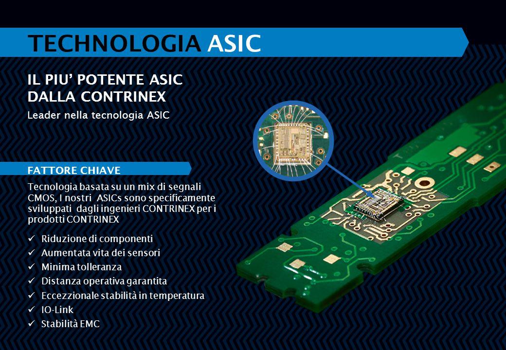 TECHNOLOGIA ASIC Riduzione di componenti Aumentata vita dei sensori Minima tolleranza Distanza operativa garantita Eccezzionale stabilità in temperatura IO-Link Stabilità EMC IL PIU' POTENTE ASIC DALLA CONTRINEX Leader nella tecnologia ASIC Tecnologia basata su un mix di segnali CMOS, I nostri ASICs sono specificamente sviluppati dagli ingenieri CONTRINEX per i prodotti CONTRINEX FATTORE CHIAVE