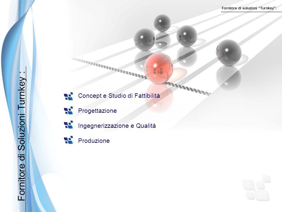 Fornitore di Soluzioni Turnkey : Concept e Studio di Fattibilità Progettazione Ingegnerizzazione e Qualità Produzione Fornitore di soluzioni Turnkey :