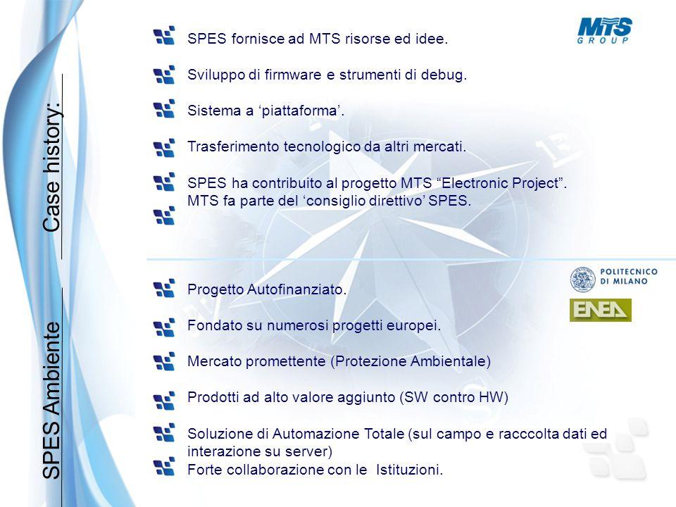 SPES Ambiente SPES fornisce ad MTS risorse ed idee. Sviluppo di firmware e strumenti di debug. Sistema a 'piattaforma'. Trasferimento tecnologico da a