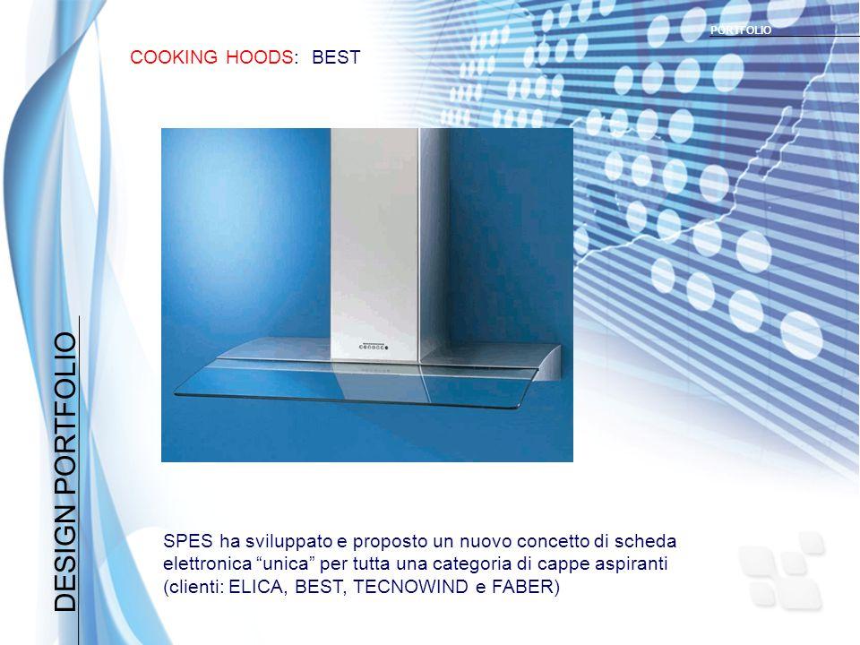 DESIGN PORTFOLIO COOKING HOODS: BEST PORTFOLIO SPES ha sviluppato e proposto un nuovo concetto di scheda elettronica unica per tutta una categoria di cappe aspiranti (clienti: ELICA, BEST, TECNOWIND e FABER)