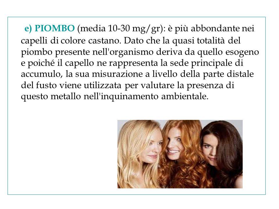 e) PIOMBO (media 10-30 mg/gr): è più abbondante nei capelli di colore castano. Dato che la quasi totalità del piombo presente nell'organismo deriva da