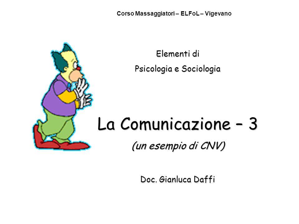 Elementi di Psicologia e Sociologia La Comunicazione – 3 (un esempio di CNV) Doc. Gianluca Daffi Corso Massaggiatori – ELFoL – Vigevano