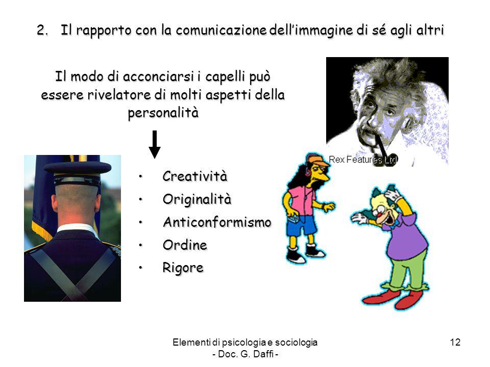Elementi di psicologia e sociologia - Doc. G. Daffi - 12 2.Il rapporto con la comunicazione dell'immagine di sé agli altri Il modo di acconciarsi i ca