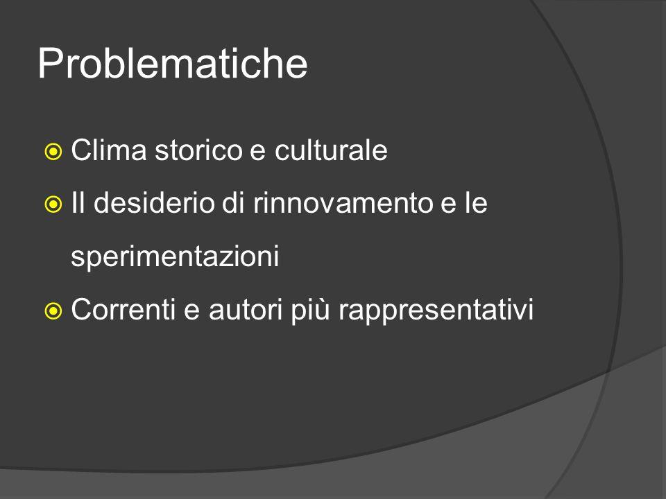 Problematiche  Clima storico e culturale  Il desiderio di rinnovamento e le sperimentazioni  Correnti e autori più rappresentativi