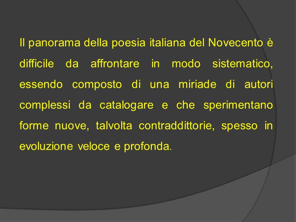 Il panorama della poesia italiana del Novecento è difficile da affrontare in modo sistematico, essendo composto di una miriade di autori complessi da