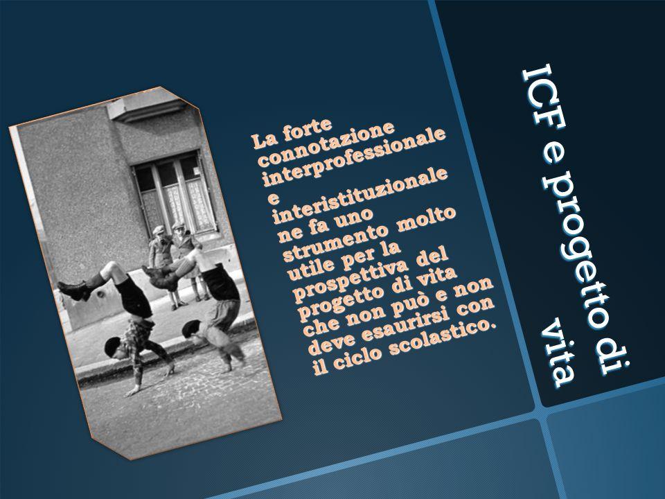 ICF e progetto di vita La forte connotazione interprofessionale e interistituzionale ne fa uno strumento molto utile per la prospettiva del progetto d