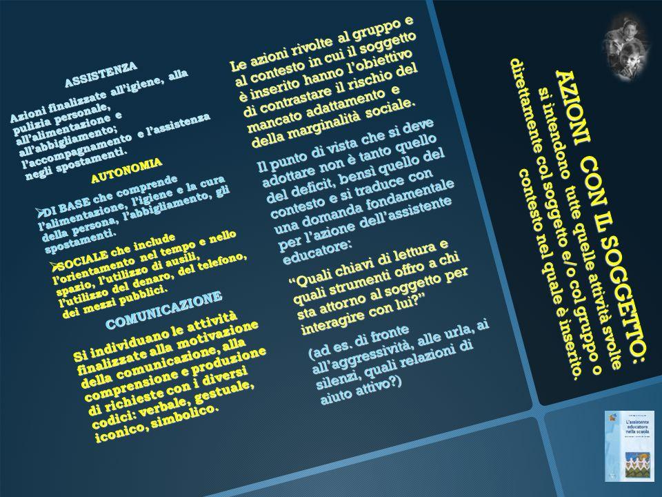 AZIONI CON IL SOGGETTO: si intendono tutte quelle attività svolte direttamente col soggetto e/o col gruppo o contesto nel quale è inserito. ASSISTENZA