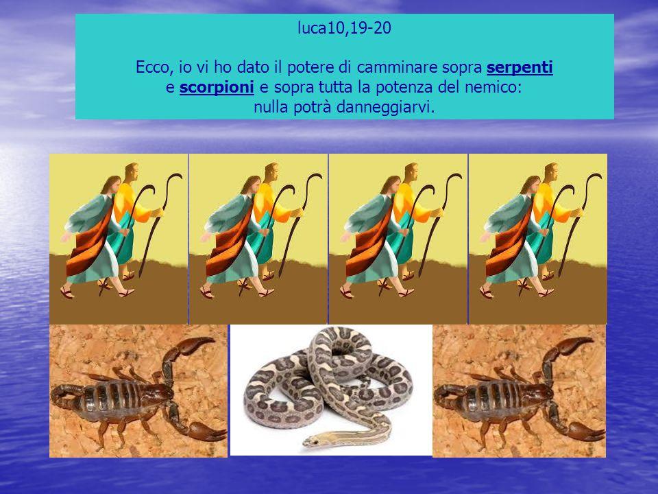 luca10,19-20 Ecco, io vi ho dato il potere di camminare sopra serpenti e scorpioni e sopra tutta la potenza del nemico: nulla potrà danneggiarvi.