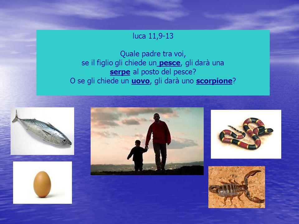 luca 11,9-13 Quale padre tra voi, se il figlio gli chiede un pesce, gli darà una serpe al posto del pesce? O se gli chiede un uovo, gli darà uno scorp