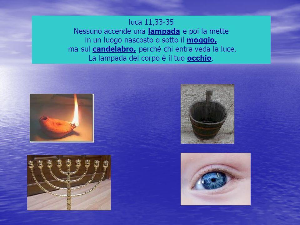 luca 11,33-35 Nessuno accende una lampada e poi la mette in un luogo nascosto o sotto il moggio, ma sul candelabro, perché chi entra veda la luce. La