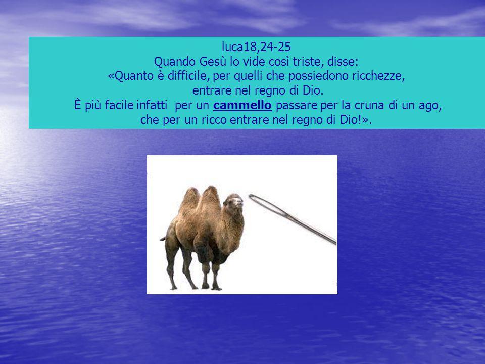 luca18,24-25 Quando Gesù lo vide così triste, disse: «Quanto è difficile, per quelli che possiedono ricchezze, entrare nel regno di Dio. È più facile