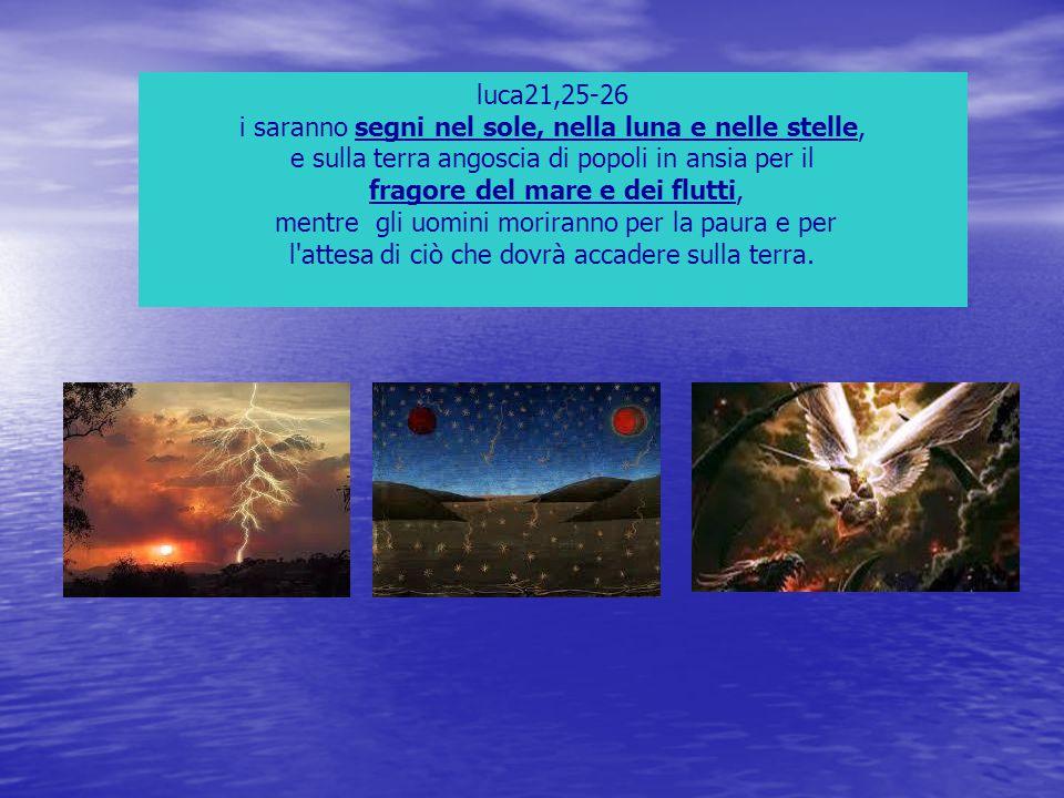luca21,25-26 i saranno segni nel sole, nella luna e nelle stelle, e sulla terra angoscia di popoli in ansia per il fragore del mare e dei flutti, ment