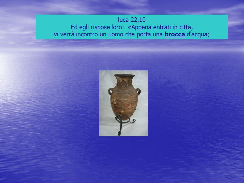 luca 22,10 Ed egli rispose loro: «Appena entrati in città, vi verrà incontro un uomo che porta una brocca d'acqua;