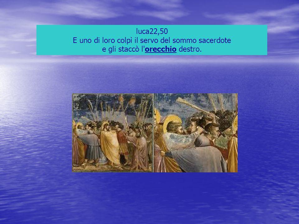 luca22,50 E uno di loro colpì il servo del sommo sacerdote e gli staccò l'orecchio destro.