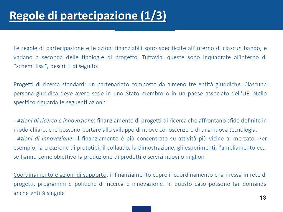 13 Regole di partecipazione (1/3) Le regole di partecipazione e le azioni finanziabili sono specificate all'interno di ciascun bando, e variano a seconda delle tipologie di progetto.