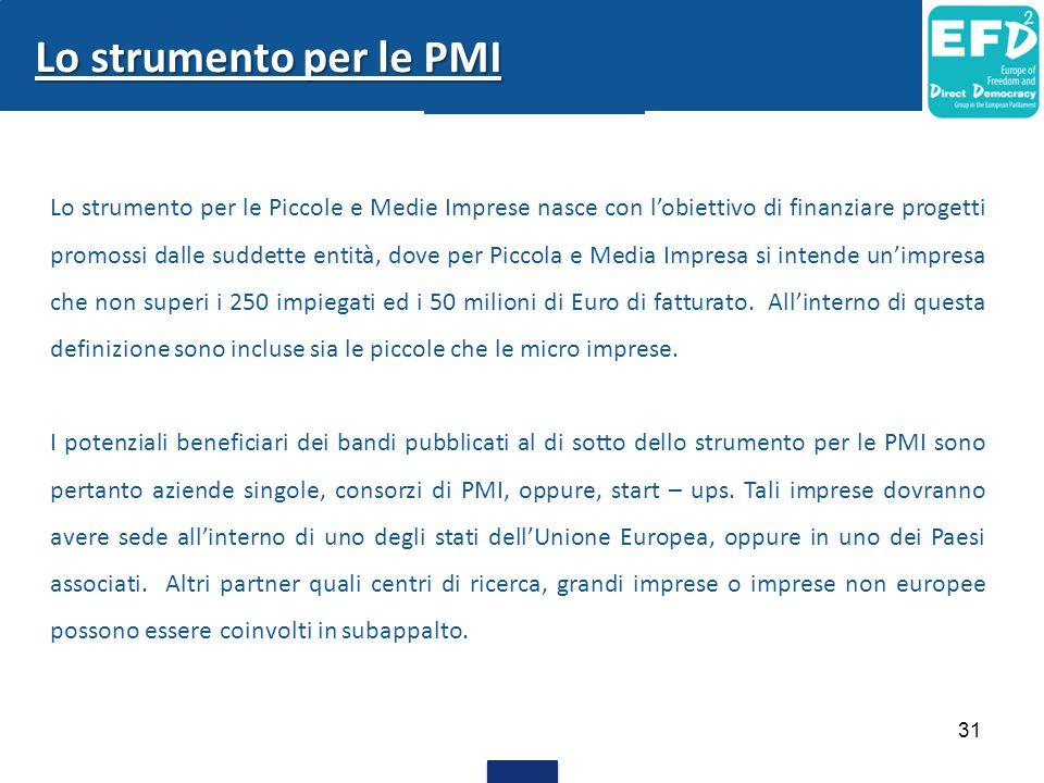 31 Lo strumento per le PMI Lo strumento per le Piccole e Medie Imprese nasce con l'obiettivo di finanziare progetti promossi dalle suddette entità, dove per Piccola e Media Impresa si intende un'impresa che non superi i 250 impiegati ed i 50 milioni di Euro di fatturato.