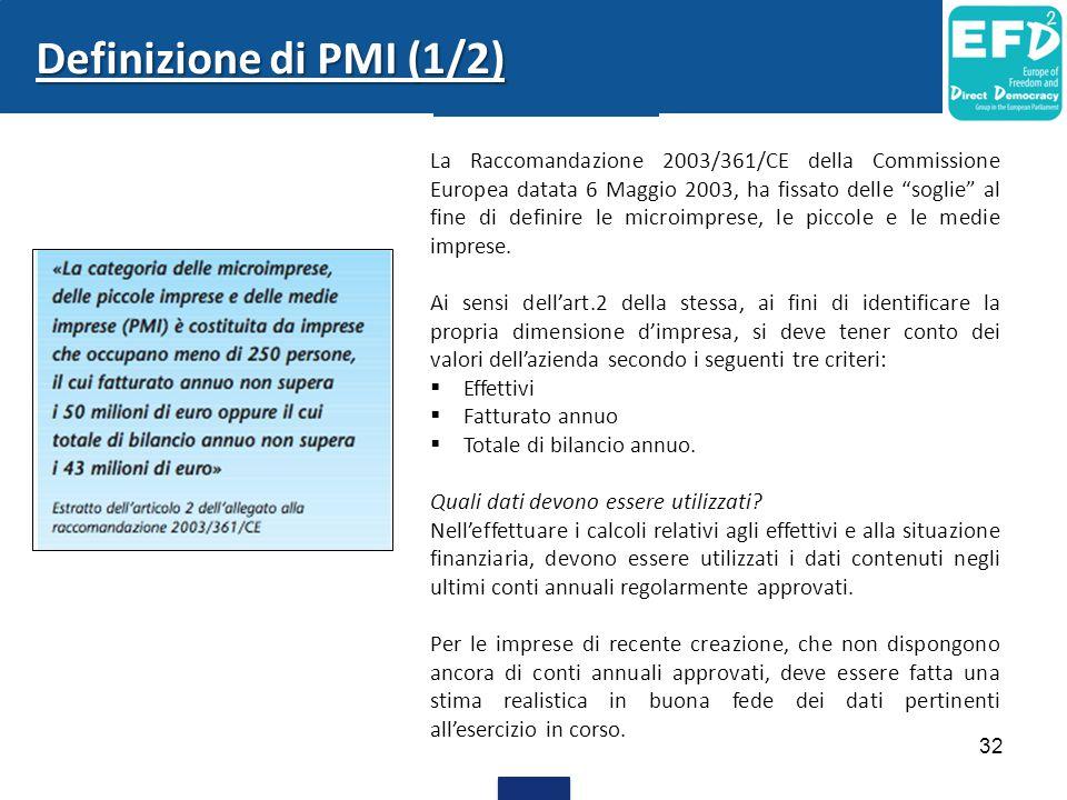 32 Definizione di PMI (1/2) La Raccomandazione 2003/361/CE della Commissione Europea datata 6 Maggio 2003, ha fissato delle soglie al fine di definire le microimprese, le piccole e le medie imprese.