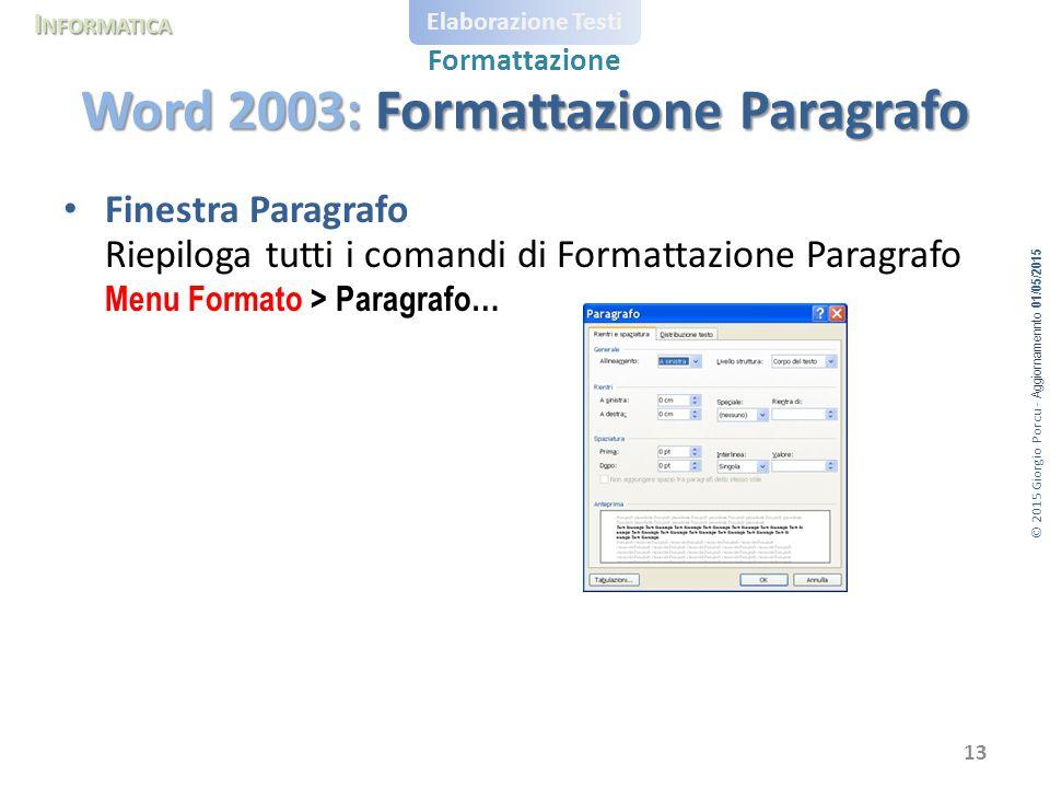 © 2015 Giorgio Porcu - Aggiornamennto 01/05/2015 I NFORMATICA Elaborazione Testi Formattazione Finestra Paragrafo Riepiloga tutti i comandi di Formatt