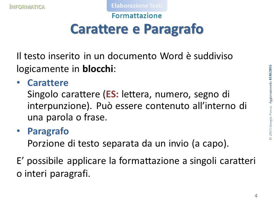 © 2015 Giorgio Porcu - Aggiornamennto 01/05/2015 I NFORMATICA Elaborazione Testi Formattazione Il testo inserito in un documento Word è suddiviso logi