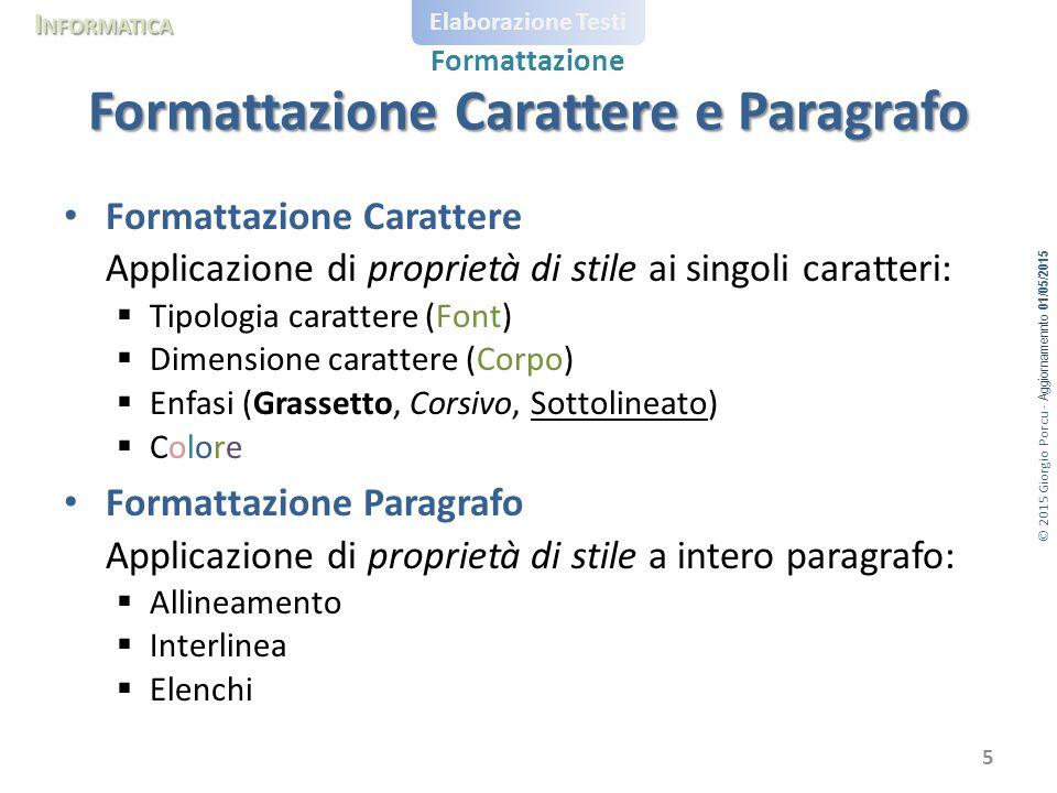 © 2015 Giorgio Porcu - Aggiornamennto 01/05/2015 I NFORMATICA Elaborazione Testi Formattazione Formattazione Carattere Applicazione di proprietà di st