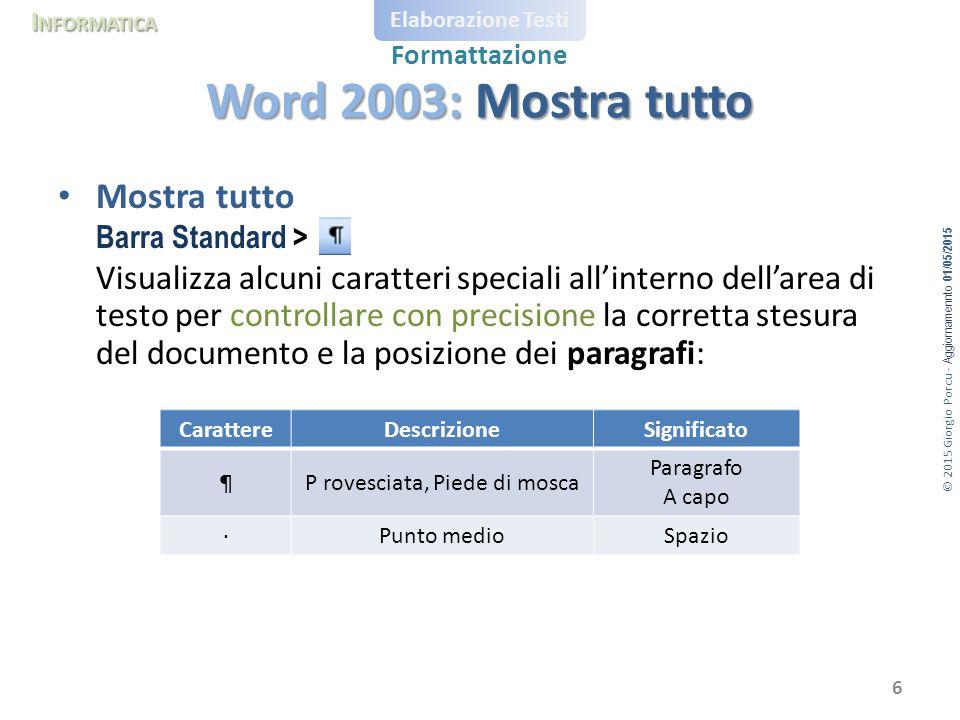 © 2015 Giorgio Porcu - Aggiornamennto 01/05/2015 I NFORMATICA Elaborazione Testi Formattazione Mostra tutto Barra Standard > Visualizza alcuni caratte