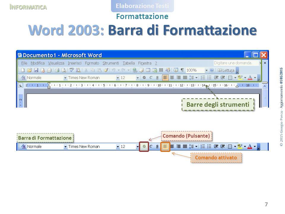 © 2015 Giorgio Porcu - Aggiornamennto 01/05/2015 I NFORMATICA Elaborazione Testi Formattazione Word 2003: Barra di Formattazione 7 Barre degli strumen