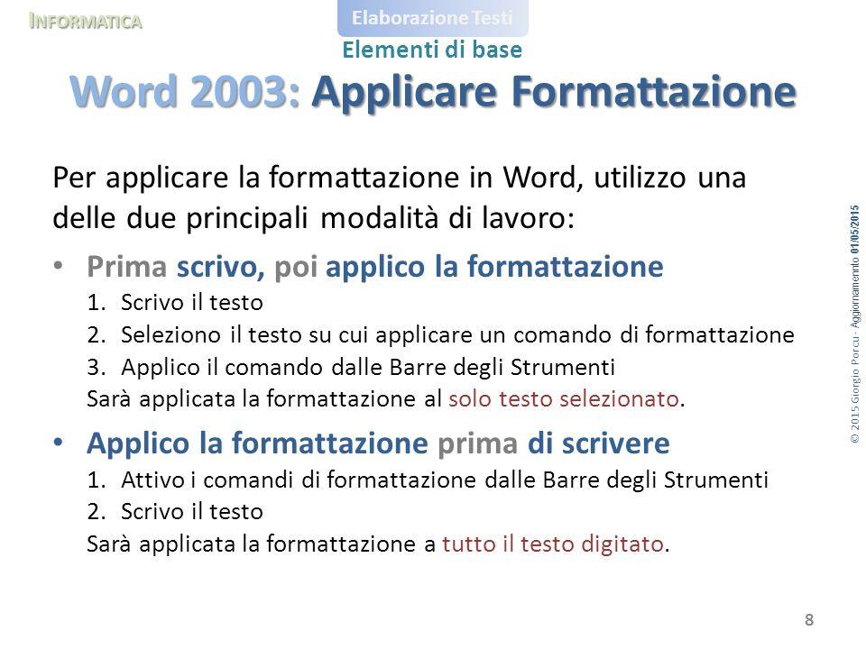 © 2015 Giorgio Porcu - Aggiornamennto 01/05/2015 I NFORMATICA Elaborazione Testi Elementi di base Per applicare la formattazione in Word, utilizzo una
