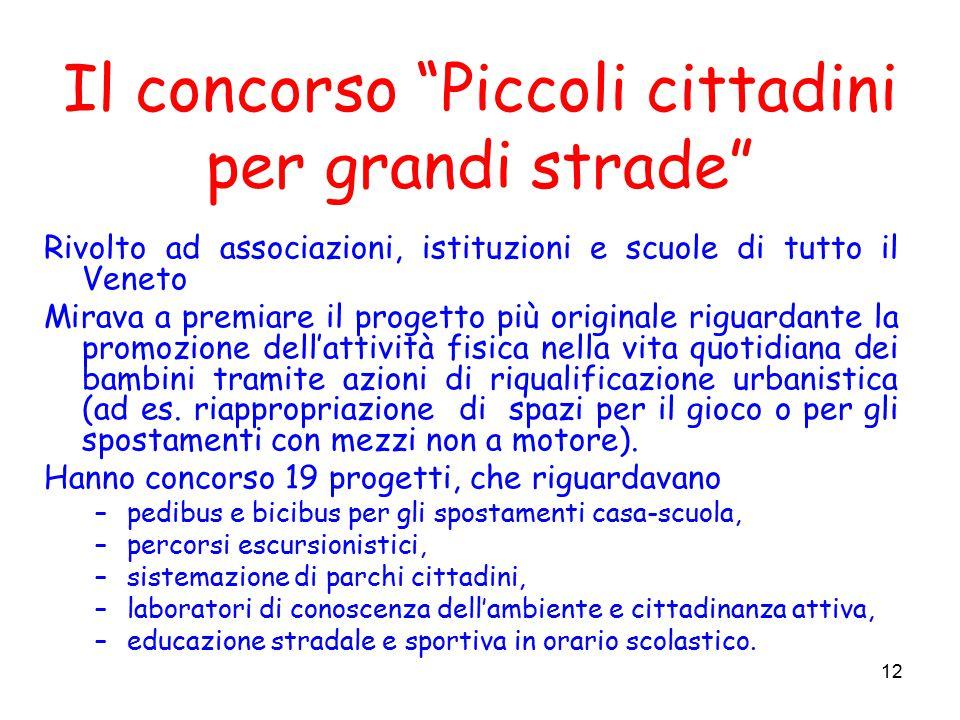 13 Il concorso Piccoli cittadini per grandi strade Vincitori: Montecchio Maggiore - Percorsi colorati Porto S.