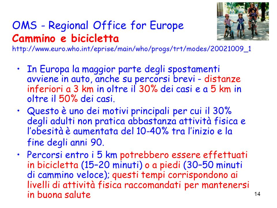 14 OMS - Regional Office for Europe Cammino e bicicletta http://www.euro.who.int/eprise/main/who/progs/trt/modes/20021009_1 In Europa la maggior parte degli spostamenti avviene in auto, anche su percorsi brevi - distanze inferiori a 3 km in oltre il 30% dei casi e a 5 km in oltre il 50% dei casi.