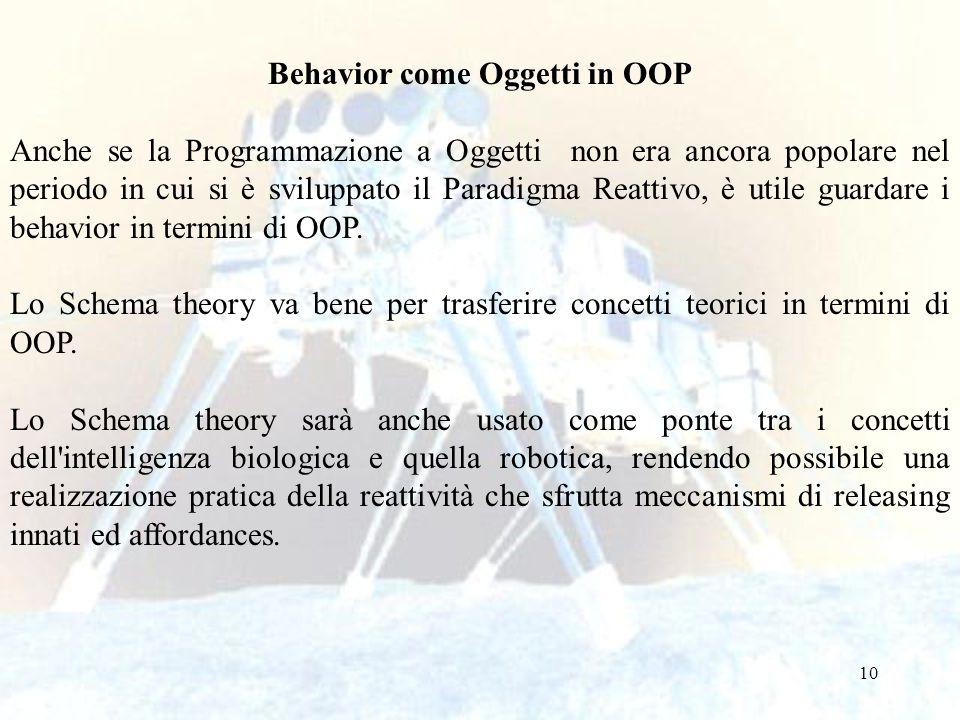 10 Behavior come Oggetti in OOP Anche se la Programmazione a Oggetti non era ancora popolare nel periodo in cui si è sviluppato il Paradigma Reattivo,