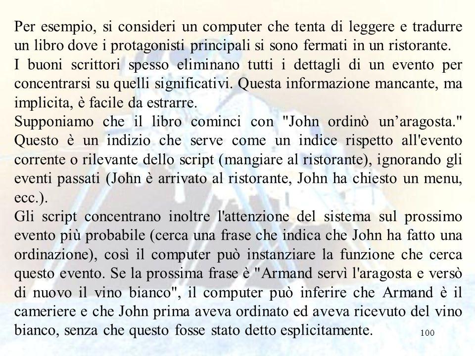 100 Per esempio, si consideri un computer che tenta di leggere e tradurre un libro dove i protagonisti principali si sono fermati in un ristorante. I