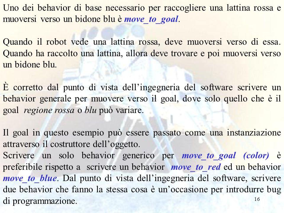 16 Uno dei behavior di base necessario per raccogliere una lattina rossa e muoversi verso un bidone blu è move_to_goal. Quando il robot vede una latti