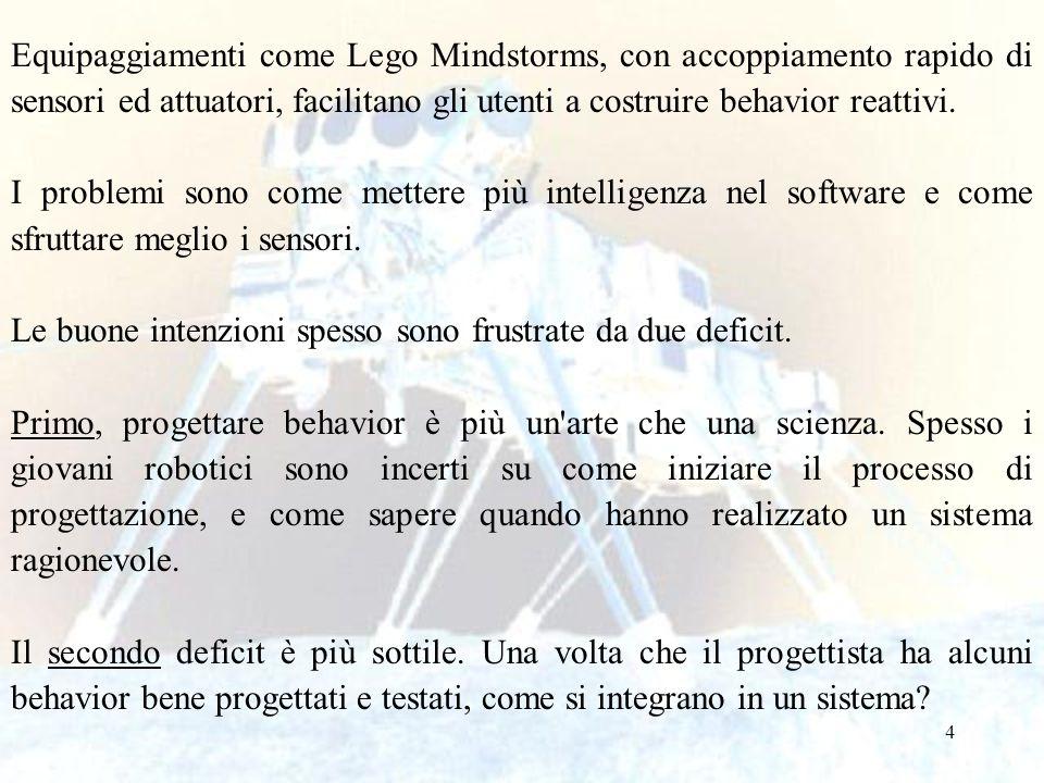 4 Equipaggiamenti come Lego Mindstorms, con accoppiamento rapido di sensori ed attuatori, facilitano gli utenti a costruire behavior reattivi. I probl
